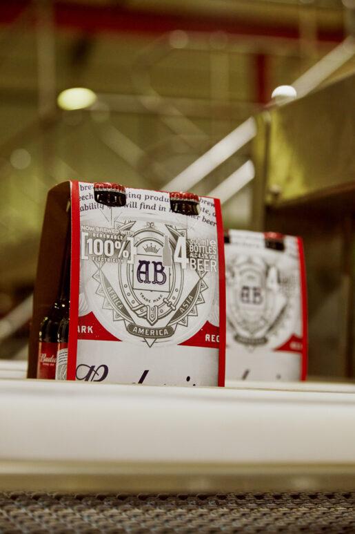 Budweiser bottles in the Bottling hall at AB-Inbev Magor in Wales, United Kingdom, June 2021. CREDIT: Emli Bendixen for The Wall Street Journal - Budweiser Brewing Group - Emli Bendixen