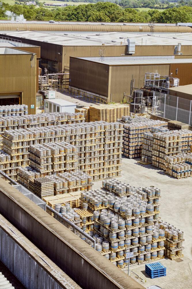 Kegs waiting to be filled at AB-Inbev Magor in Wales, United Kingdom, June 2021. CREDIT: Emli Bendixen for The Wall Street Journal - Budweiser Brewing Group - Emli Bendixen